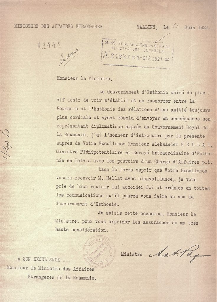 Credentials of Aleksander Hellat. Photo: Archives of the Romanian Ministry of Foreign Affairs