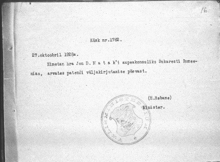 Order to appoint the honorary consul. Photo: Estonian National Archives