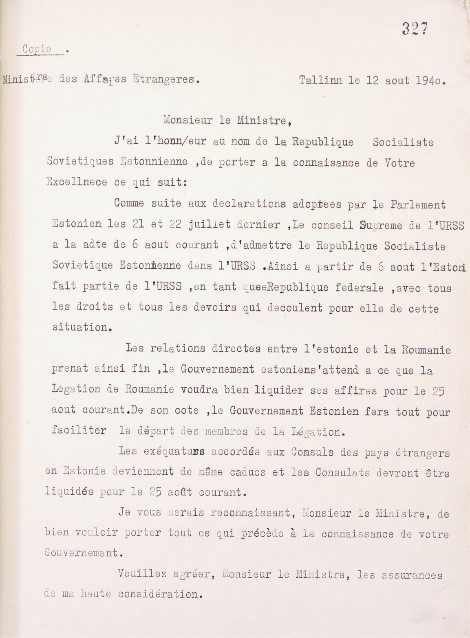 An ESSR diplomatic correspondence, was sent on 12 August to the legations in Tallinn that they must be closed by 25 August in connection with Estonia's 'accession' to the Soviet Union. Photo: Archives of the Romanian Ministry of Foreign Affairs