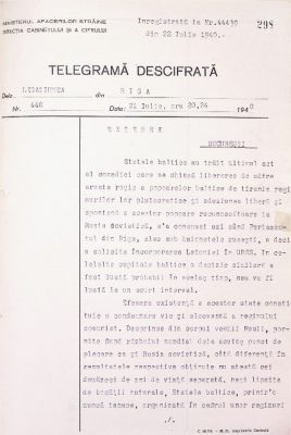 A telegram sent on 21 July to Bucharest, announces the establishment of the Estonian SSR. Photo: Archives of the Romanian Ministry of Foreign Affairs