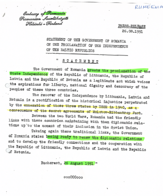 Romania acknowledging the restoration of the independence of the Baltic States. Photo: Archives of the Estonian Ministry of Foreign Affairs