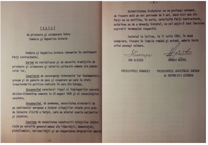 Treaty on Friendship and Cooperation between Romania and Estonia. Photo: Archives of Romanian Ministry of Foreign Affairs
